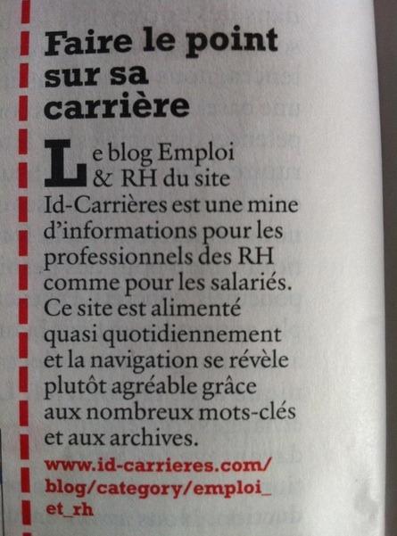 Le blog Emploi & RH d'id-carrieres mentionné dans Liaisons Sociales Magasine