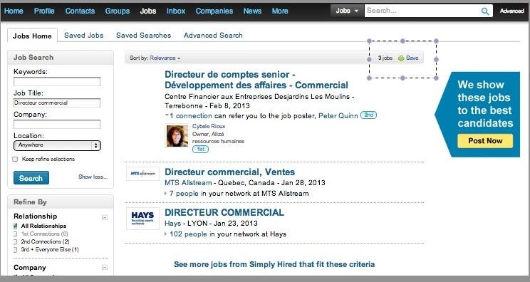 Linkedin offre d'emploi sur le réseau