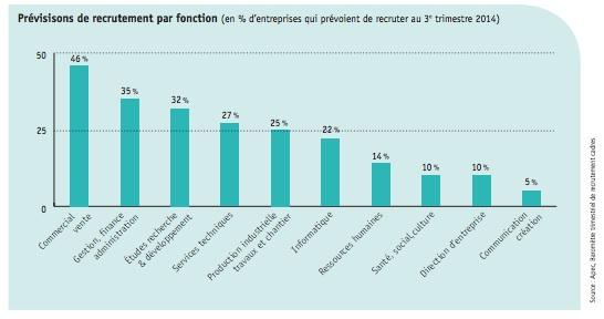 Recrutement des cadres par fonction en 2014